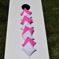 Pink and White Cornhole Bags